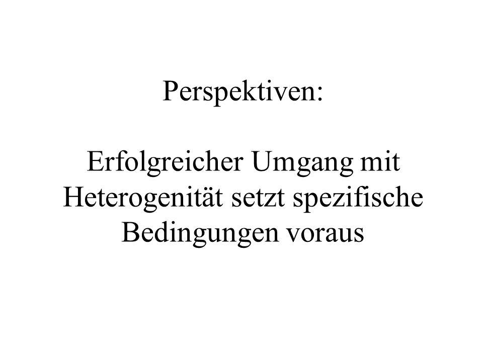 Perspektiven: Erfolgreicher Umgang mit Heterogenität setzt spezifische Bedingungen voraus