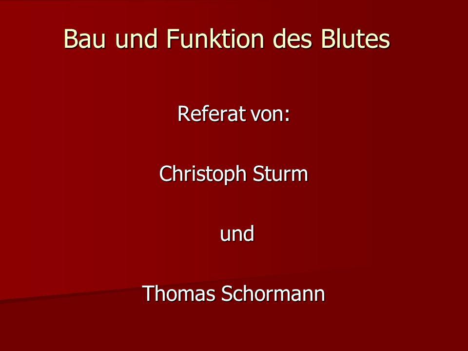 Bau und Funktion des Blutes Referat von: Christoph Sturm und und Thomas Schormann