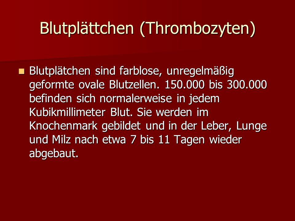 Blutplättchen (Thrombozyten) Blutplätchen sind farblose, unregelmäßig geformte ovale Blutzellen. 150.000 bis 300.000 befinden sich normalerweise in je