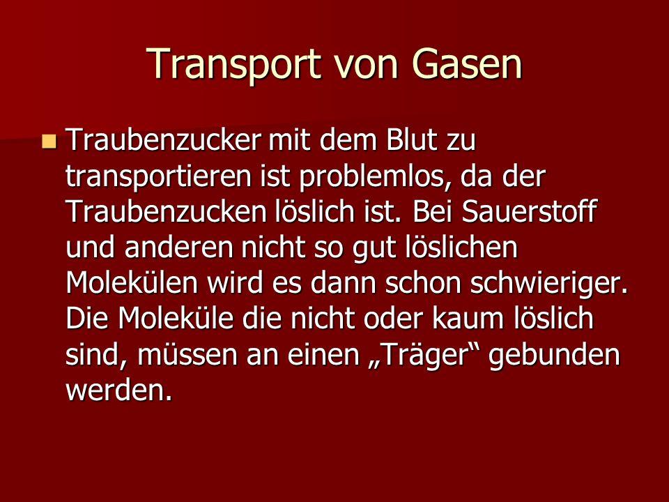 Transport von Gasen Traubenzucker mit dem Blut zu transportieren ist problemlos, da der Traubenzucken löslich ist. Bei Sauerstoff und anderen nicht so