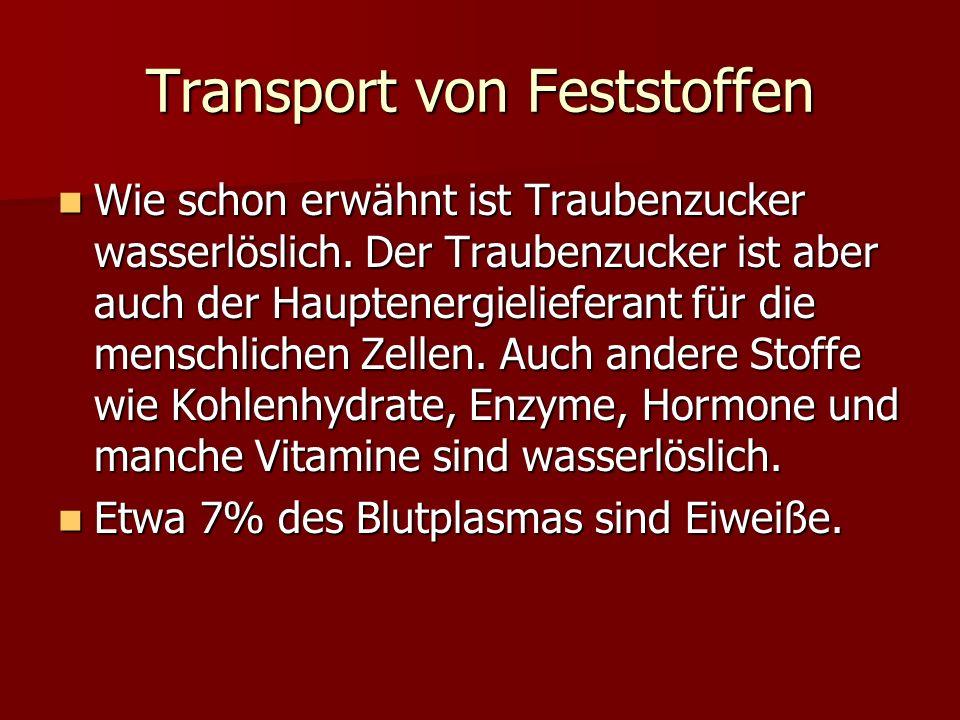 Transport von Feststoffen Wie schon erwähnt ist Traubenzucker wasserlöslich. Der Traubenzucker ist aber auch der Hauptenergielieferant für die menschl
