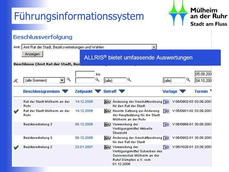 Führungsinformationssystem ALLRIS ® bietet umfassende Auswertungen