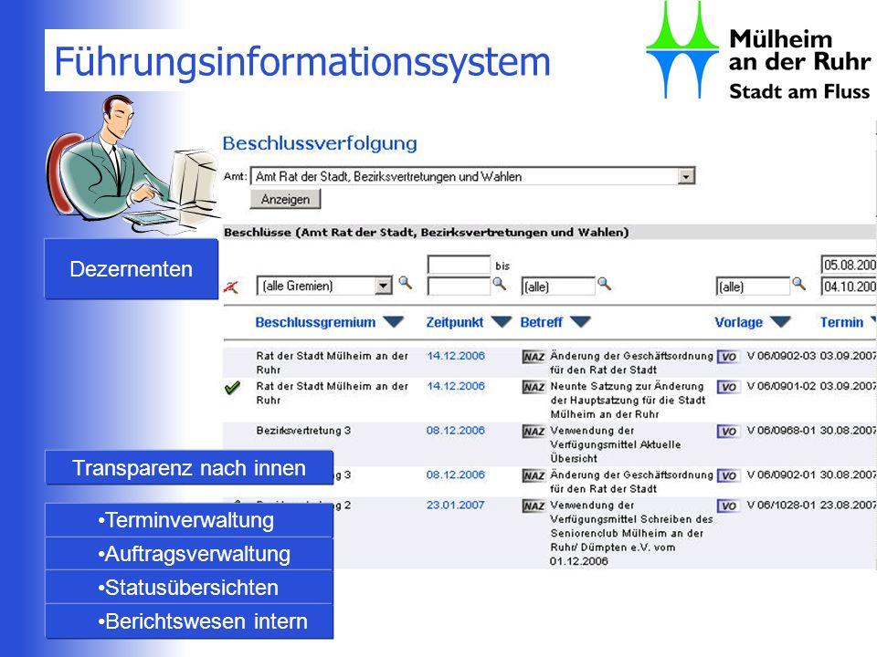 Führungsinformationssystem Dezernenten Transparenz nach innen Terminverwaltung Auftragsverwaltung Statusübersichten Berichtswesen intern