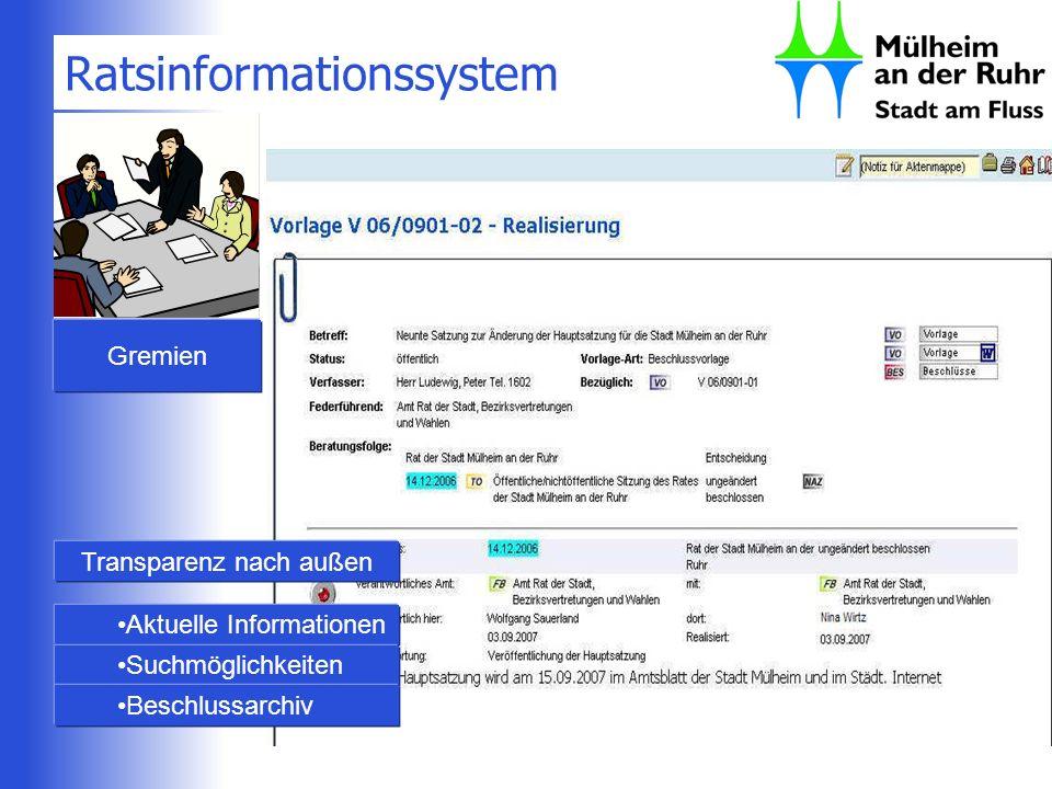 Ratsinformationssystem Gremien Transparenz nach außen Aktuelle Informationen Suchmöglichkeiten Beschlussarchiv