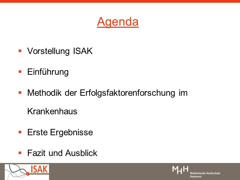 Agenda Vorstellung ISAK Einführung Methodik der Erfolgsfaktorenforschung im Krankenhaus Erste Ergebnisse Fazit und Ausblick