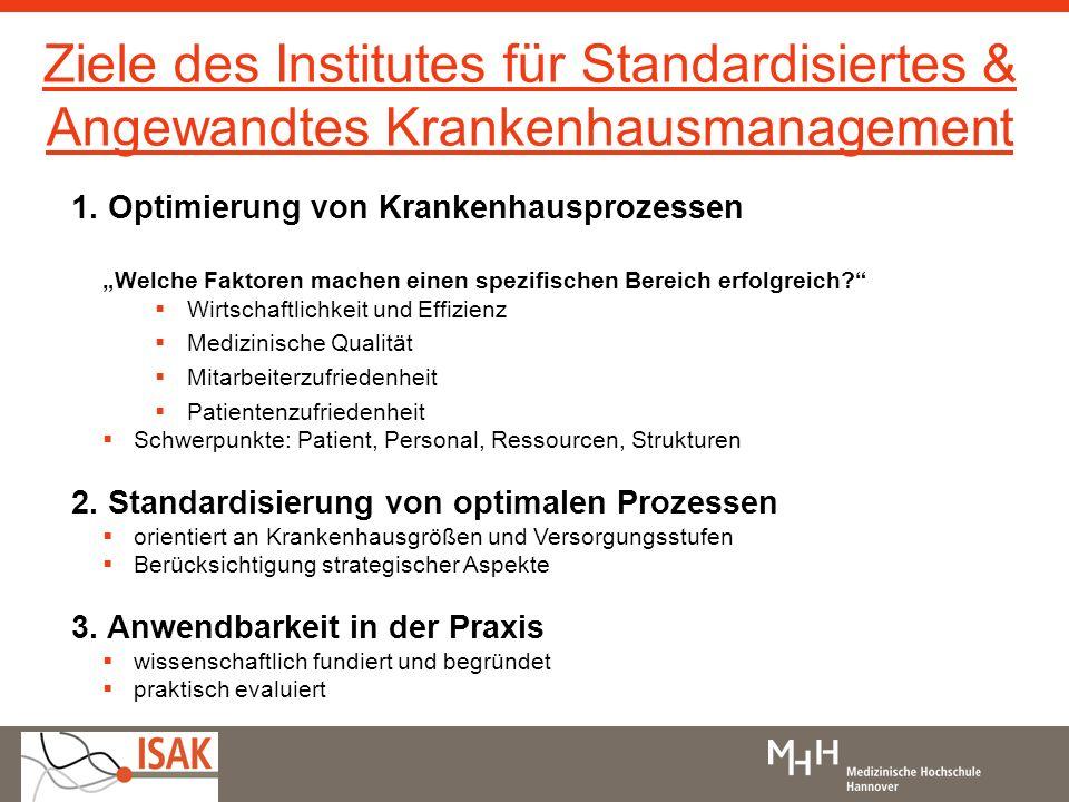 Ziele des Institutes für Standardisiertes & Angewandtes Krankenhausmanagement 1. Optimierung von Krankenhausprozessen Welche Faktoren machen einen spe