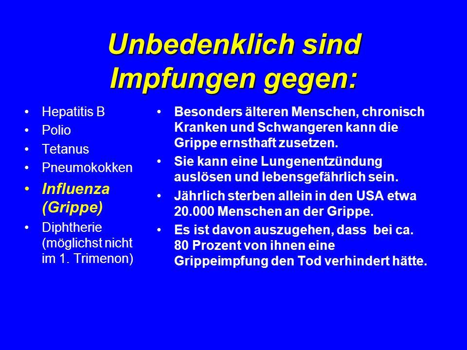 Unbedenklich sind Impfungen gegen: Hepatitis B Polio Tetanus Pneumokokken Influenza (Grippe) Diphtherie (möglichst nicht im 1. Trimenon) Besonders ält