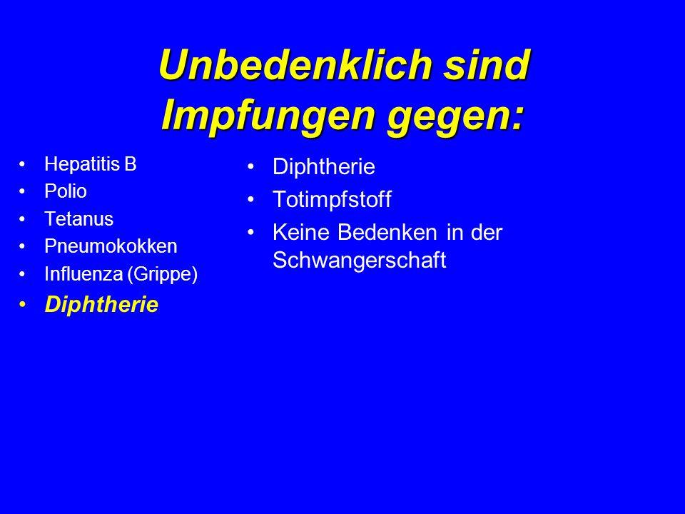 Unbedenklich sind Impfungen gegen: Hepatitis B Polio Tetanus Pneumokokken Influenza (Grippe) Diphtherie Totimpfstoff Keine Bedenken in der Schwangersc