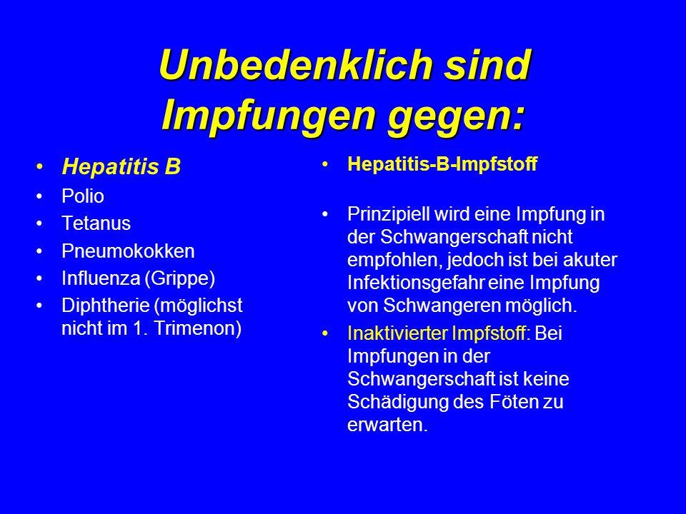 Unbedenklich sind Impfungen gegen: Hepatitis B Polio Tetanus Pneumokokken Influenza (Grippe) Diphtherie (möglichst nicht im 1. Trimenon) Hepatitis-B-I