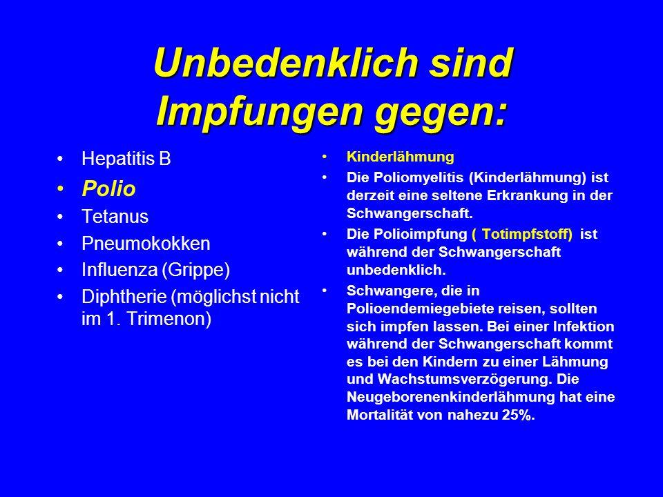 Unbedenklich sind Impfungen gegen: Hepatitis B Polio Tetanus Pneumokokken Influenza (Grippe) Diphtherie (möglichst nicht im 1. Trimenon) Kinderlähmung