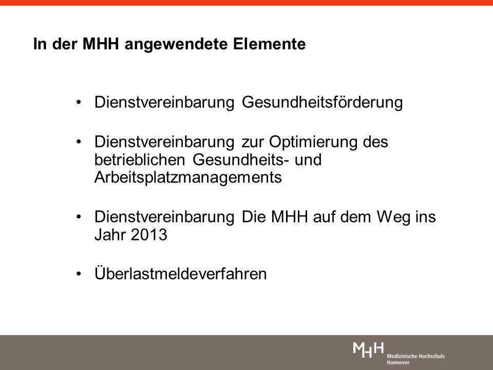 In der MHH angewendete Elemente Dienstvereinbarung Gesundheitsförderung Dienstvereinbarung zur Optimierung des betrieblichen Gesundheits- und Arbeitsp