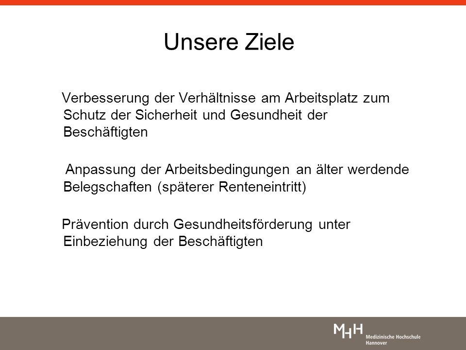 Unsere Ziele Verbesserung der Verhältnisse am Arbeitsplatz zum Schutz der Sicherheit und Gesundheit der Beschäftigten Anpassung der Arbeitsbedingungen
