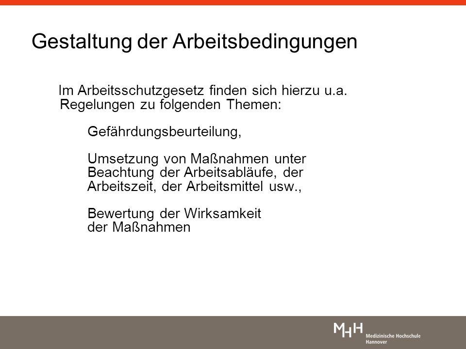Gestaltung der Arbeitsbedingungen Im Arbeitsschutzgesetz finden sich hierzu u.a. Regelungen zu folgenden Themen: Gefährdungsbeurteilung, Umsetzung von