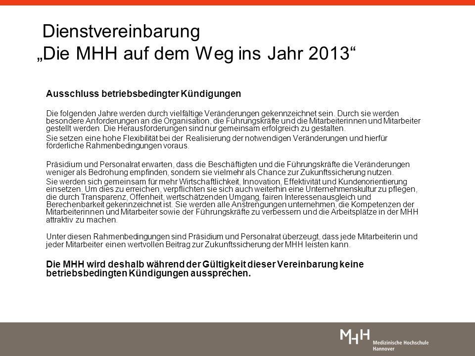 Dienstvereinbarung Die MHH auf dem Weg ins Jahr 2013 Ausschluss betriebsbedingter Kündigungen Die folgenden Jahre werden durch vielfältige Veränderung