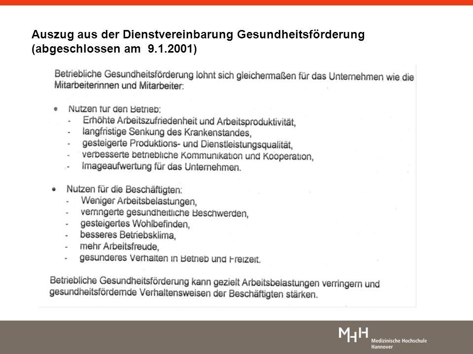 In der MHH angewendete Elemente Dienstvereinbarung Gesundheitsförderung Dienstvereinbarung zur Optimierung des betrieblichen Gesundheits- und Arbeitsplatzmanagements Dienstvereinbarung Die MHH auf dem Weg ins Jahr 2013 Überlastmeldeverfahren