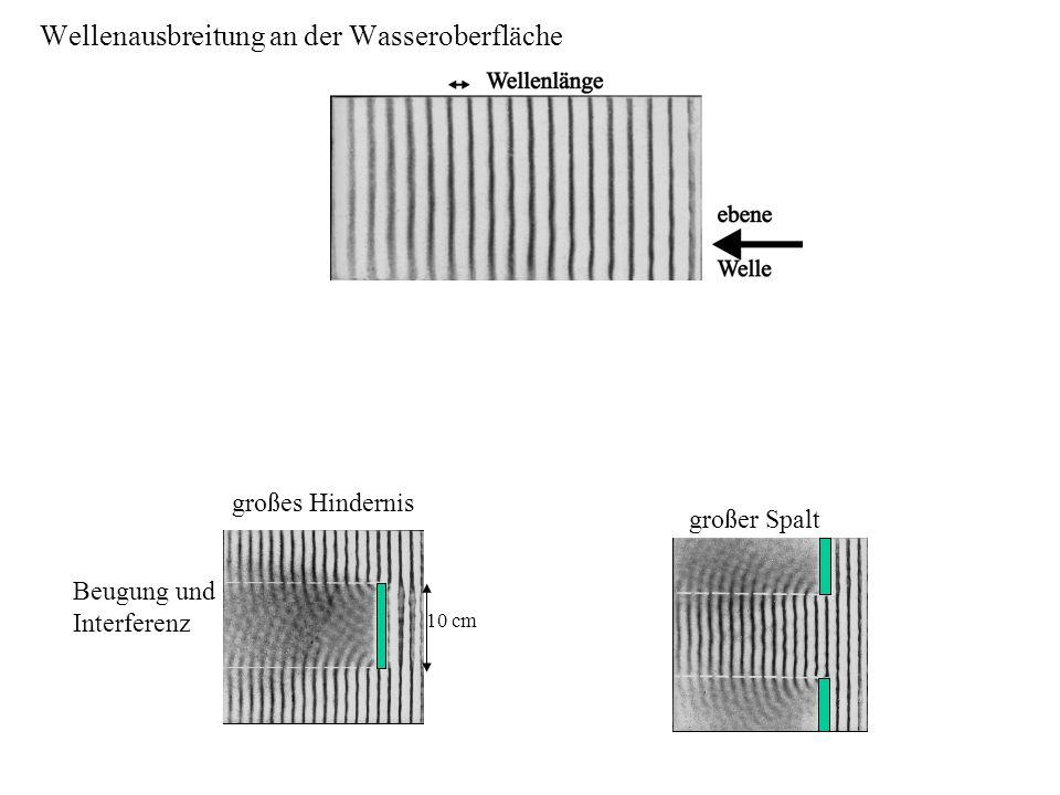 Beugung am Hindernis großer Spalt 10 cm Beugung und Interferenz großes Hindernis Wellenausbreitung an der Wasseroberfläche