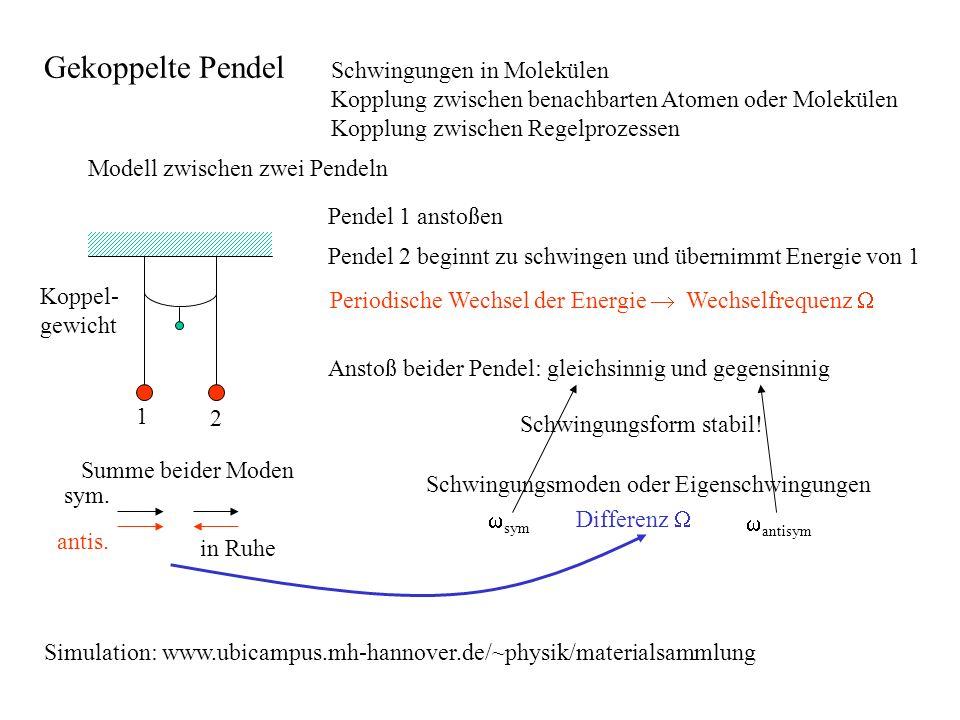 Schwingungen in Molekülen Kopplung zwischen benachbarten Atomen oder Molekülen Kopplung zwischen Regelprozessen Modell zwischen zwei Pendeln Koppel- g
