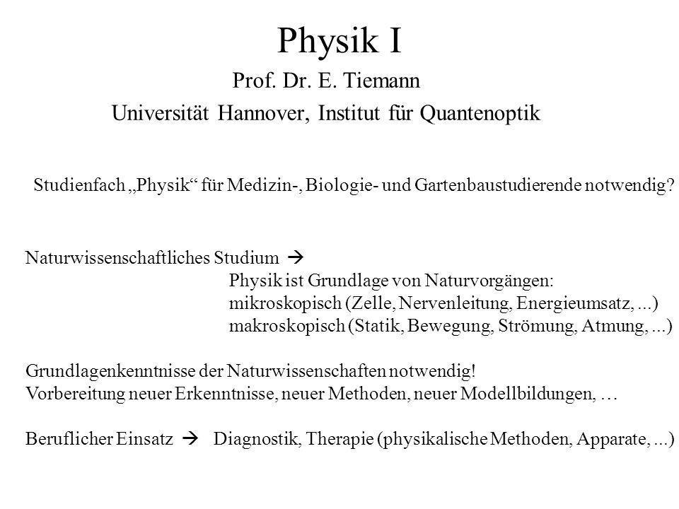 Studienfach Physik für Medizin-, Biologie- und Gartenbaustudierende notwendig? Physik I Prof. Dr. E. Tiemann Universität Hannover, Institut für Quante