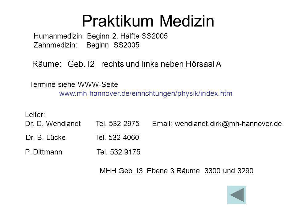 Praktikum Medizin Leiter: Dr. D. Wendlandt Tel. 532 2975 Email: wendlandt.dirk@mh-hannover.de Dr. B. Lücke Tel. 532 4060 P. Dittmann Tel. 532 9175 MHH