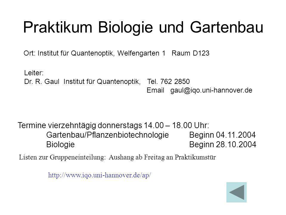 Praktikum Biologie und Gartenbau Leiter: Dr. R. Gaul Institut für Quantenoptik, Tel. 762 2850 Email gaul@iqo.uni-hannover.de Ort: Institut für Quanten