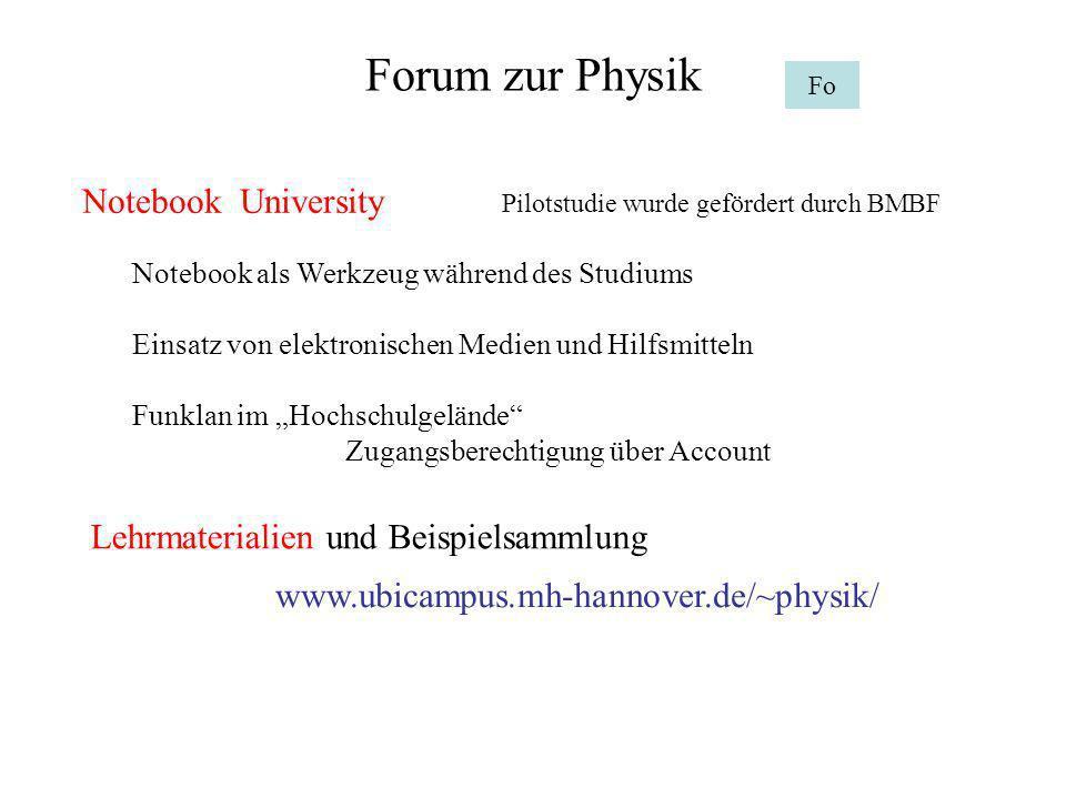 Forum zur Physik Fo Notebook University Pilotstudie wurde gefördert durch BMBF Notebook als Werkzeug während des Studiums Einsatz von elektronischen M