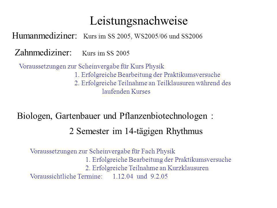Leistungsnachweise Humanmediziner: Kurs im SS 2005, WS2005/06 und SS2006 Zahnmediziner: Kurs im SS 2005 Biologen, Gartenbauer und Pflanzenbiotechnolog