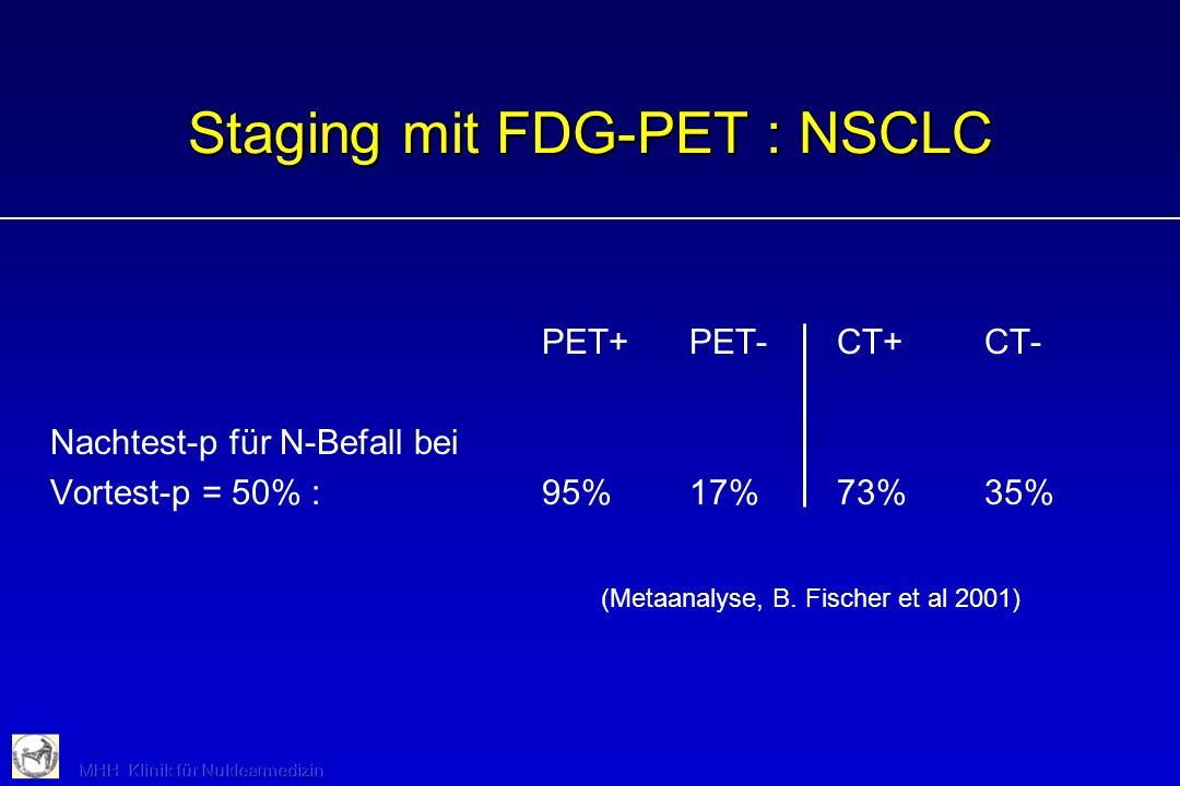 PET+PET-CT+CT- Nachtest-p für N-Befall bei Vortest-p = 50% :95%17%73%35% Staging mit FDG-PET : NSCLC (Metaanalyse, B. Fischer et al 2001)