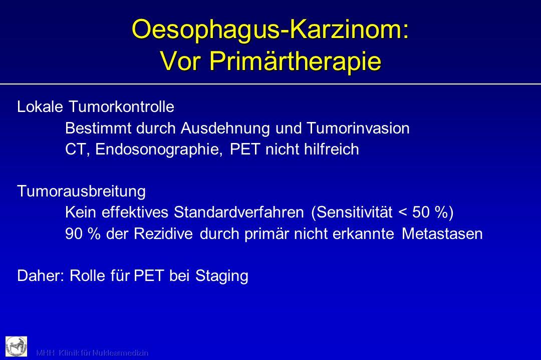 Oesophagus-Karzinom: Vor Primärtherapie Lokale Tumorkontrolle Bestimmt durch Ausdehnung und Tumorinvasion CT, Endosonographie, PET nicht hilfreich Tum