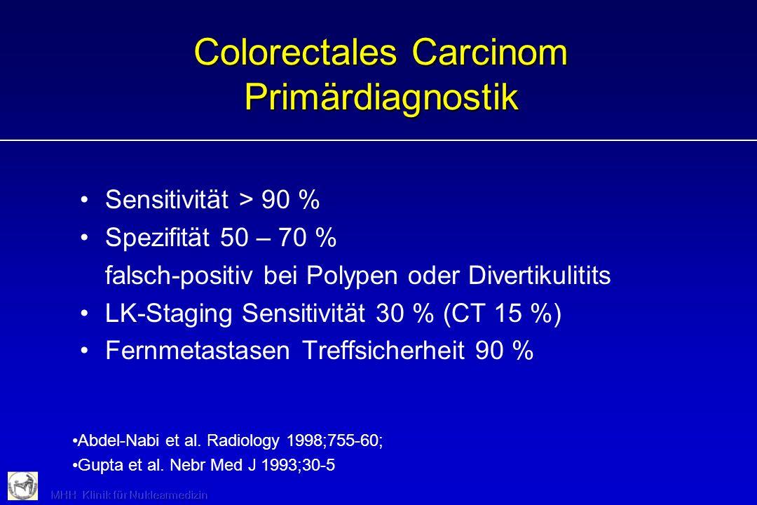 Colorectales Carcinom Primärdiagnostik Sensitivität > 90 % Spezifität 50 – 70 % falsch-positiv bei Polypen oder Divertikulitits LK-Staging Sensitivitä