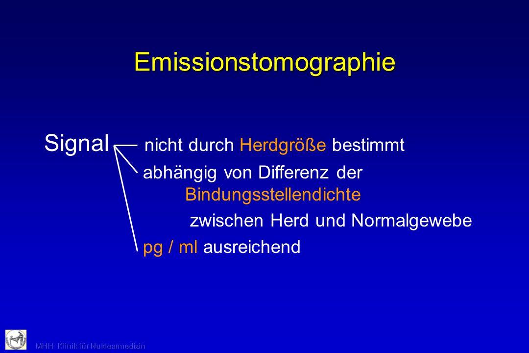Emissionstomographie Signal nicht durch Herdgröße bestimmt abhängig von Differenz der Bindungsstellendichte zwischen Herd und Normalgewebe pg / ml aus