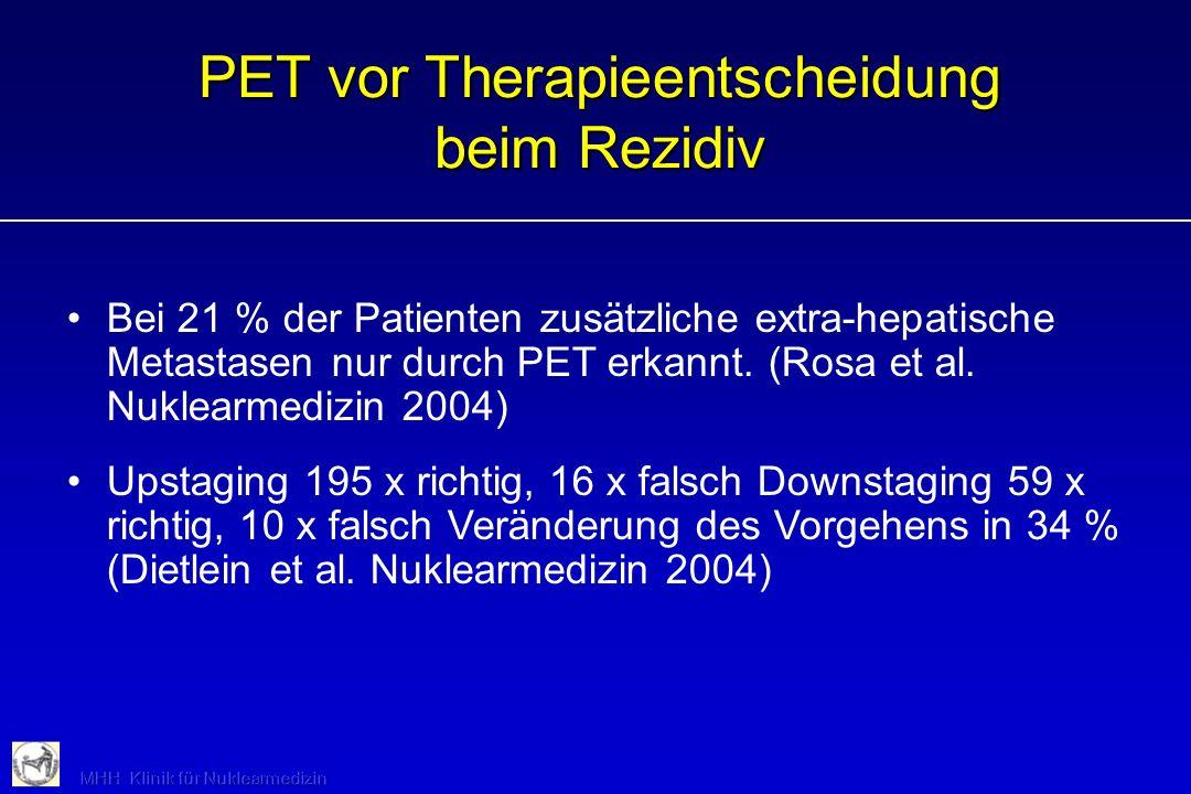 PET vor Therapieentscheidung beim Rezidiv Bei 21 % der Patienten zusätzliche extra-hepatische Metastasen nur durch PET erkannt. (Rosa et al. Nuklearme