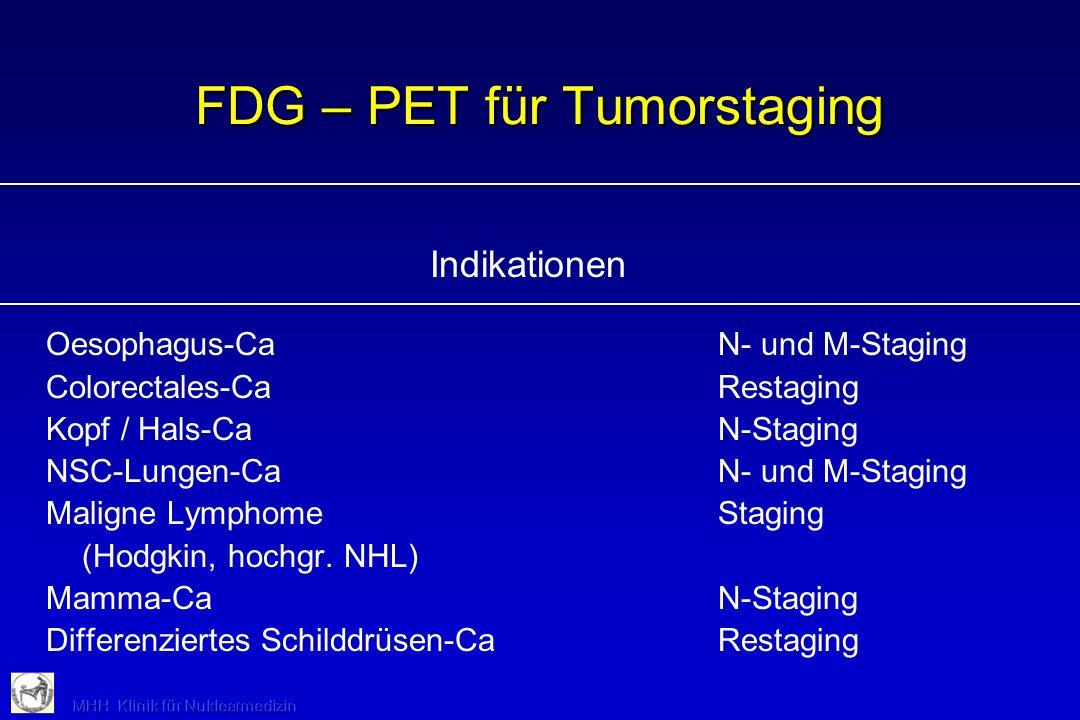 FDG – PET für Tumorstaging Indikationen Oesophagus-CaN- und M-Staging Colorectales-CaRestaging Kopf / Hals-CaN-Staging NSC-Lungen-CaN- und M-Staging M