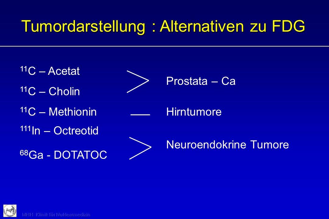Tumordarstellung : Alternativen zu FDG 11 C – Acetat Prostata – Ca 11 C – Cholin 11 C – MethioninHirntumore 111 In – Octreotid Neuroendokrine Tumore 6