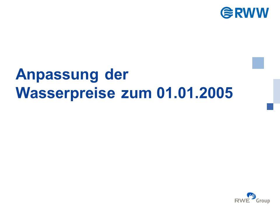 Gesellschafterversammlung RWW GmbH, 17.12.2004 2 Ausgangssituation bei RWW Letzte reale Preiserhöhung zum 01.01.1998 Preiserhöhung zum 01.03.2004 war lediglich eine teilweise Weitergabe der Aufwendungen für das Wasserentnahme- entgelt Die Inflationsrate in NRW steigt im Zeitraum 01.01.1998 bis 31.12.2004 um ca.