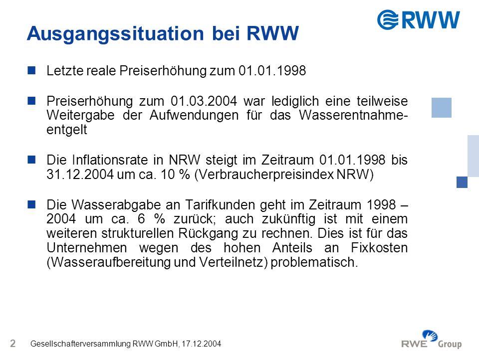 Gesellschafterversammlung RWW GmbH, 17.12.2004 3 Herleitung des voraussichtlichen durchschnittlichen BGW-Summenpreises zum 01.01.2005 RWW /m³ BGW /m³ Summenpreis 01.01.20041,811,85 Erhöhung aufgrund des WasEG0,06 1,871,91 Prognostizierte Preiserhöhung für 2005 aufgrund der durchschnittlichen Preiserhöhung der letzten 10 Jahre 0,03 Prognostizierter Summenpreis 01.01.20051,94 zzgl.
