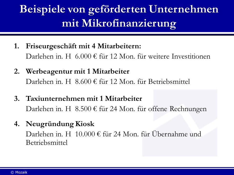 Beispiele von geförderten Unternehmen mit Mikrofinanzierung 1.Friseurgeschäft mit 4 Mitarbeitern: Darlehen in. H 6.000 für 12 Mon. für weitere Investi