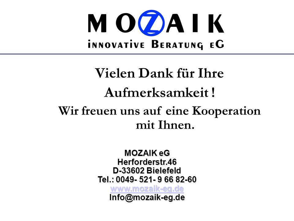 Vielen Dank für Ihre Aufmerksamkeit ! Wir freuen uns auf eine Kooperation mit Ihnen. MOZAIK eG Herforderstr.46 D-33602 Bielefeld Tel.: 0049- 521- 9 66