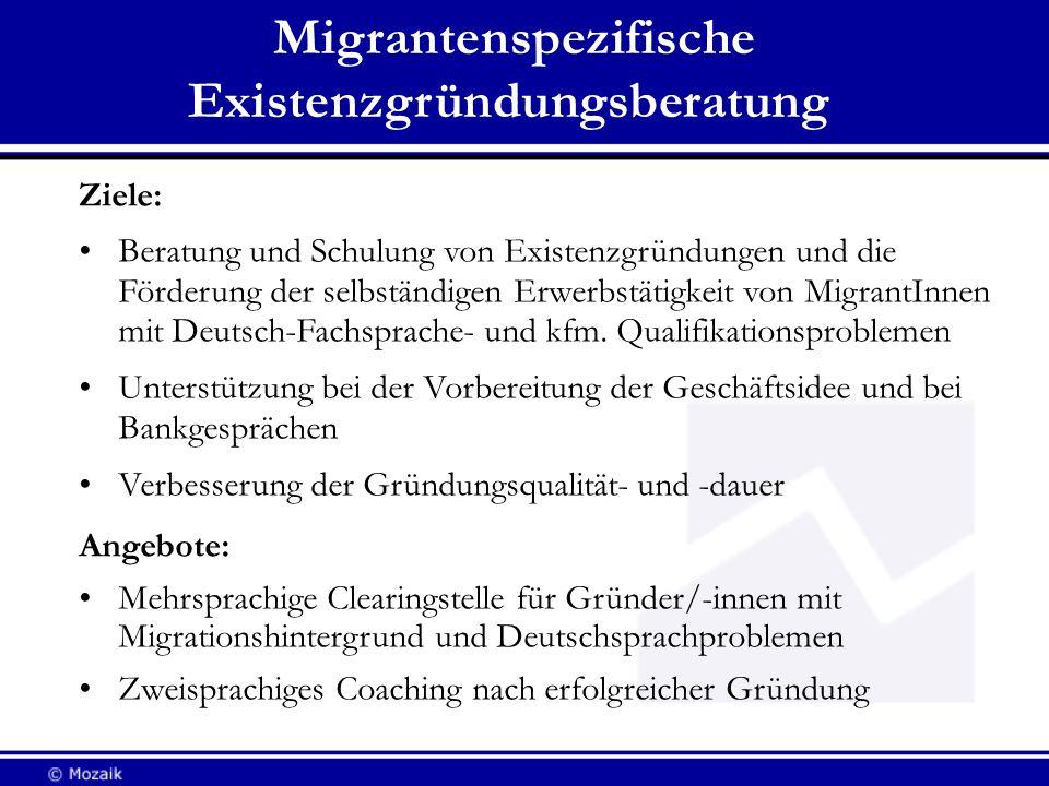 Migrantenspezifische Existenzgründungsberatung Ziele: Beratung und Schulung von Existenzgründungen und die Förderung der selbständigen Erwerbstätigkei