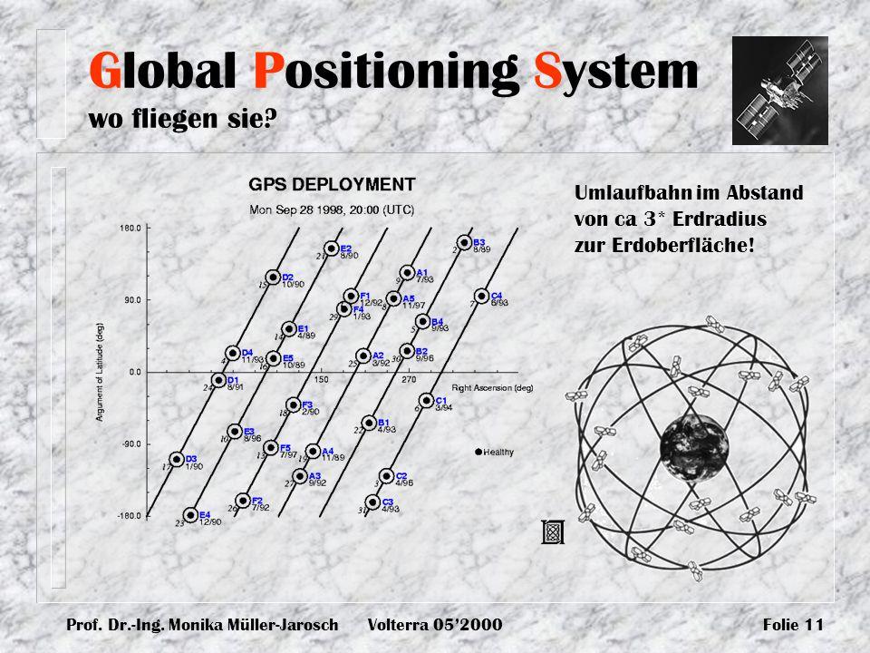 Prof. Dr.-Ing. Monika Müller-JaroschVolterra 052000Folie 11 Global Positioning System wo fliegen sie? Umlaufbahn im Abstand von ca 3* Erdradius zur Er
