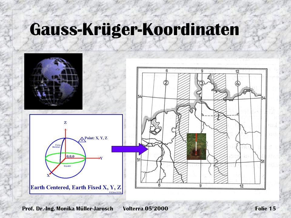 Prof. Dr.-Ing. Monika Müller-JaroschVolterra 052000Folie 15 Gauss-Krüger-Koordinaten