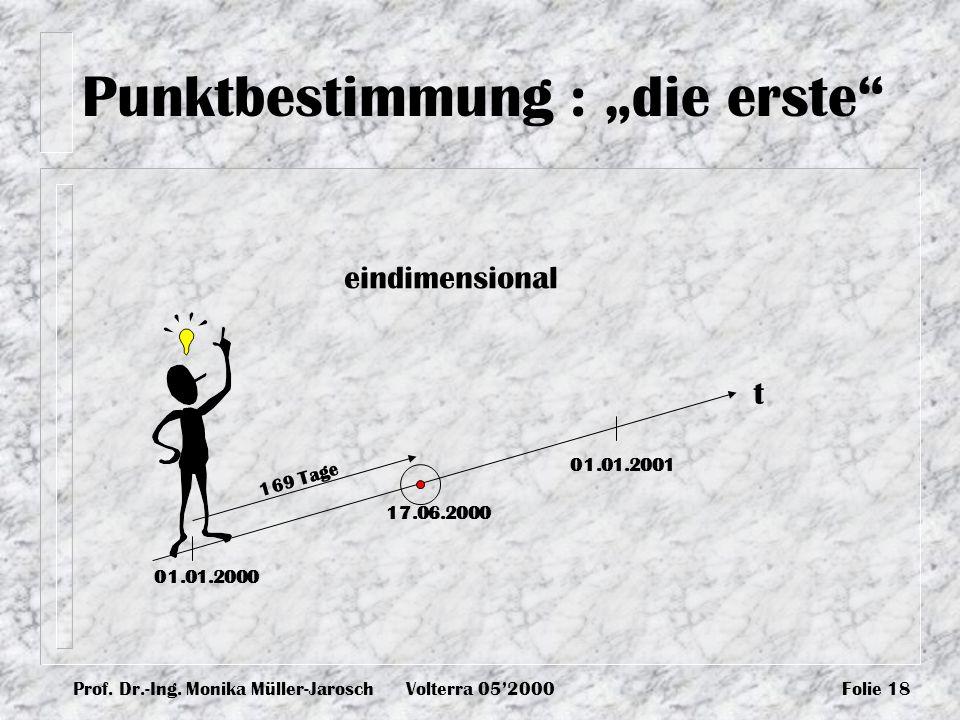 Prof. Dr.-Ing. Monika Müller-JaroschVolterra 052000Folie 18 Punktbestimmung : die erste t 01.01.2000 01.01.2001 17.06.2000 169 Tage eindimensional
