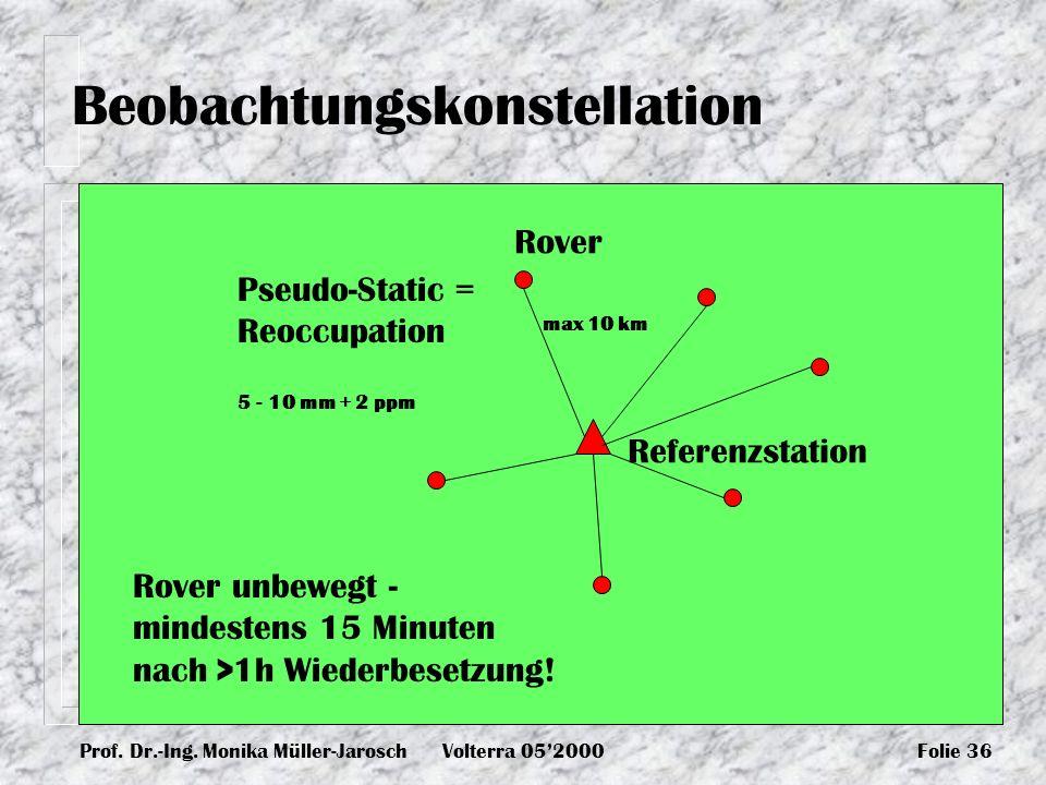 Prof. Dr.-Ing. Monika Müller-JaroschVolterra 052000Folie 36 Beobachtungskonstellation Pseudo-Static = Reoccupation Rover unbewegt - mindestens 15 Minu