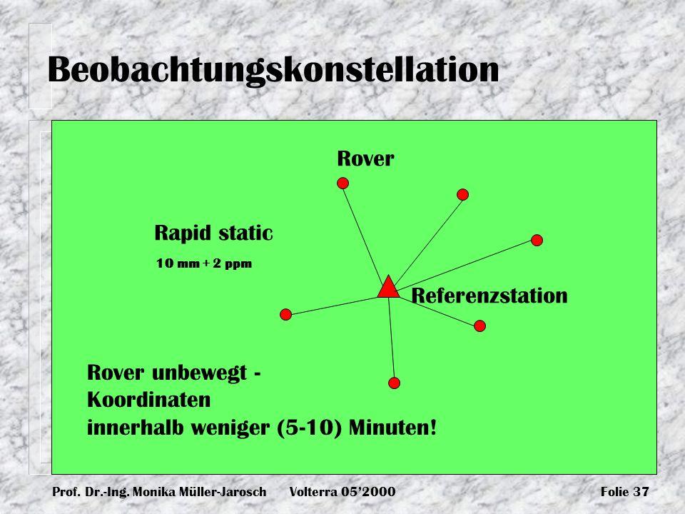 Prof. Dr.-Ing. Monika Müller-JaroschVolterra 052000Folie 37 Beobachtungskonstellation Rapid static Rover unbewegt - Koordinaten innerhalb weniger (5-1