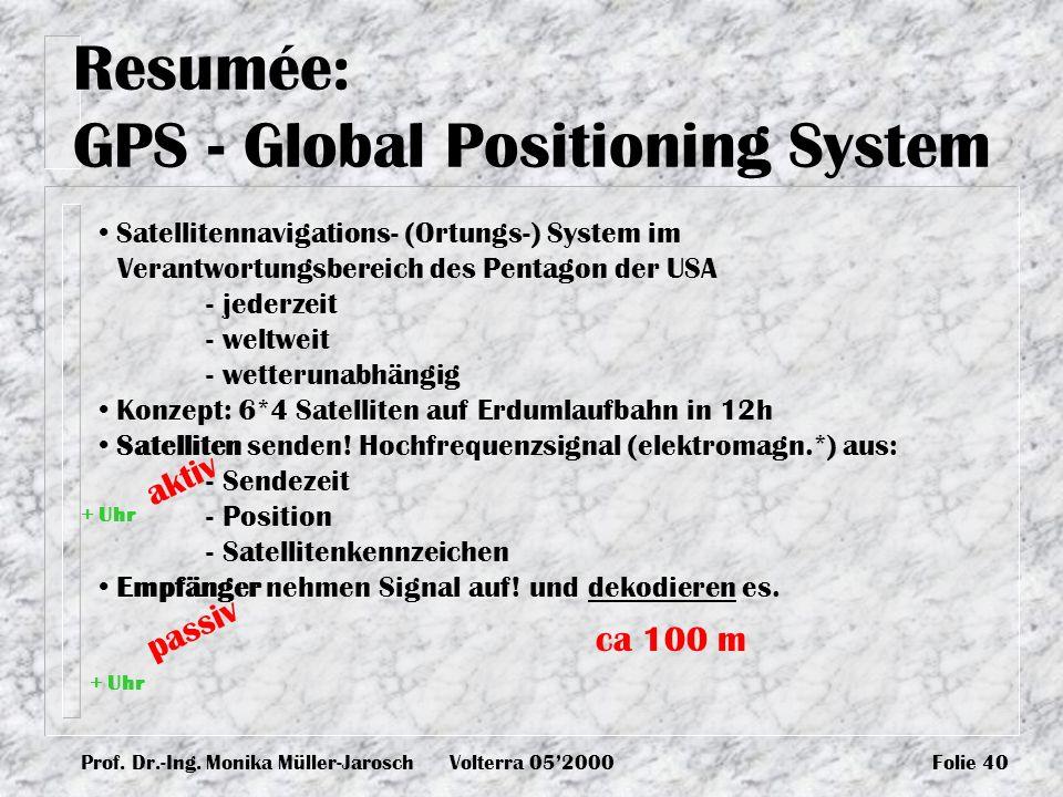 Prof. Dr.-Ing. Monika Müller-JaroschVolterra 052000Folie 40 Resumée: GPS - Global Positioning System Satellitennavigations- (Ortungs-) System im Veran