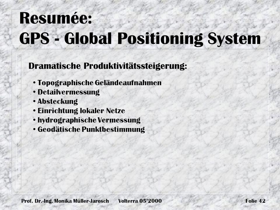 Prof. Dr.-Ing. Monika Müller-JaroschVolterra 052000Folie 42 Resumée: GPS - Global Positioning System Topographische Geländeaufnahmen Detailvermessung