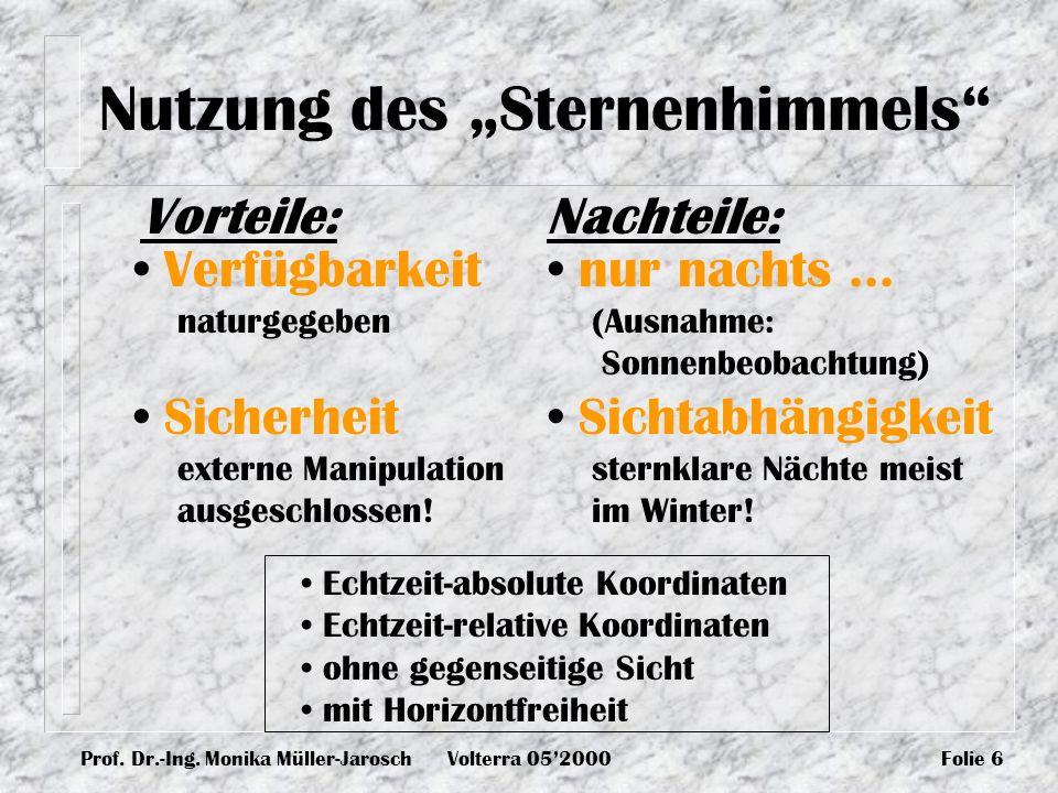 Prof. Dr.-Ing. Monika Müller-JaroschVolterra 052000Folie 6 Nutzung des Sternenhimmels Vorteile: Verfügbarkeit naturgegeben Sicherheit externe Manipula