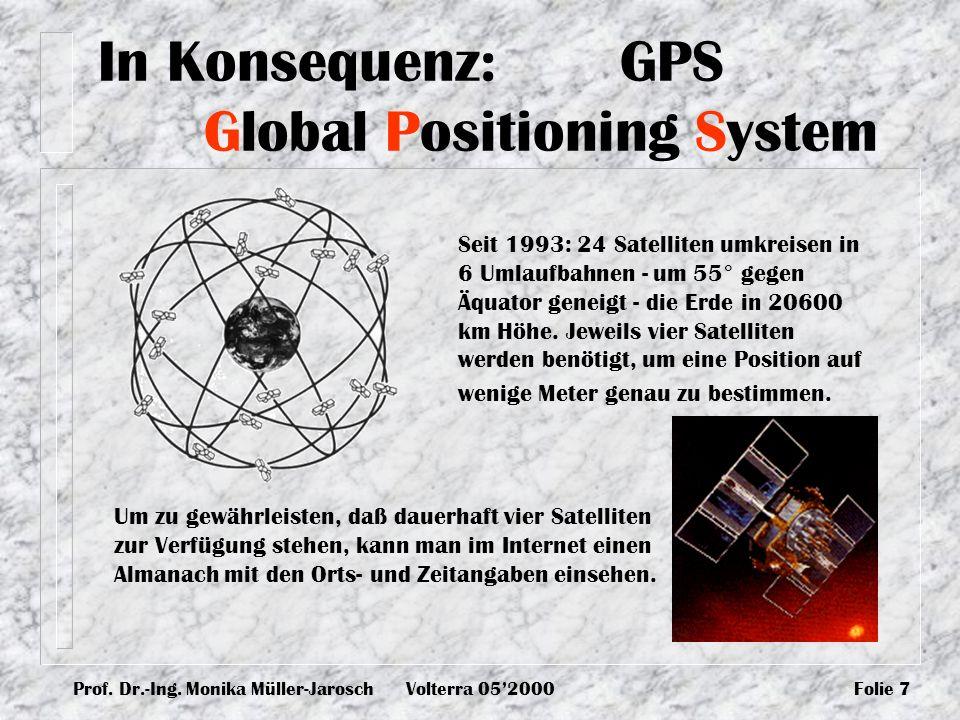 Prof. Dr.-Ing. Monika Müller-JaroschVolterra 052000Folie 7 In Konsequenz: GPS Global Positioning System Seit 1993: 24 Satelliten umkreisen in 6 Umlauf