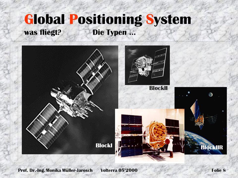 Prof. Dr.-Ing. Monika Müller-JaroschVolterra 052000Folie 8 BlockI BlockII BlockIIR Global Positioning System was fliegt? Die Typen...