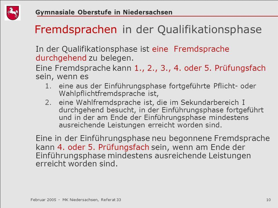 Gymnasiale Oberstufe in Niedersachsen Februar 2005 - MK Niedersachsen, Referat 3310 Fremdsprachen in der Qualifikationsphase In der Qualifikationsphas