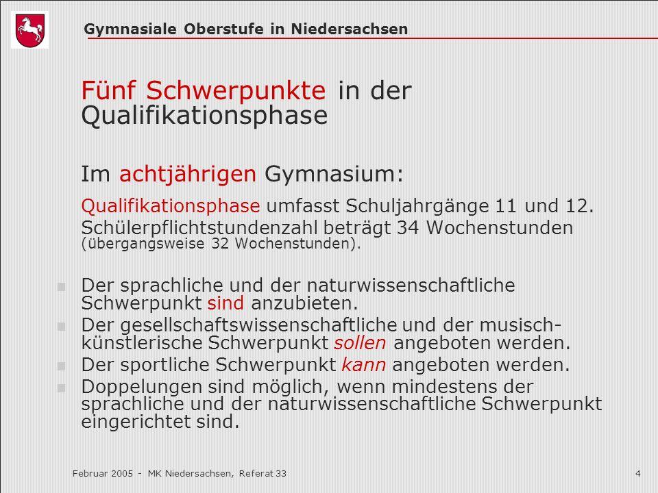 Gymnasiale Oberstufe in Niedersachsen Februar 2005 - MK Niedersachsen, Referat 334 Fünf Schwerpunkte in der Qualifikationsphase Im achtjährigen Gymnas